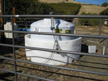 Chemical storage for a microirrigation injection system.  Photo:  L. Schwankl