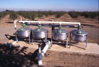 Sand media filters for an almond orchard  Photo: Jack Kelly Clark